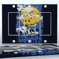 DIY Do It Yourself Home Decor - Easy to apply wall plate wraps | Winter is Coming Birds and yellow moon wallplate skin sticker for 3 Gang Decora LightSwitch | On SALE now only $5.95
