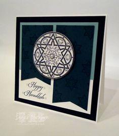 "By Ingrid Blackburn (nyingrid at Splitcoaststampers). Hanukkah card. Uses stamps from Stampin' Up's ""Jewish Celebrations."""