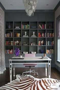 Northworks Architects: Stunning home office with floor to ceiling gray built-in cabinets and gray crown . home office. home decor and interior decorating ideas. Home Office Space, Home Office Design, Home Office Furniture, Home Office Decor, House Design, Home Decor, Office Ideas, Ikea Office, Office Workspace