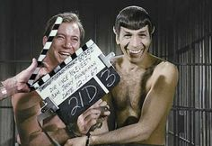 Captain Kirk and Mr. Spock in an awkward scene and Mr. Spock is smiling which automatically makes it that much better