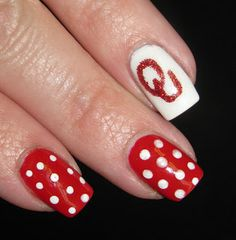 Boomer Sooner Logo Toe Nail Art, Toe Nails, Boomer Sooner, Nail Stuff, Toe Nail Designs, Football Team, How To Do Nails, Pretty Nails, Beauty Makeup