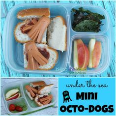 Fun lunchbox idea! Mini Vegetarian Octo-Dogs   packed in @EasyLunchboxes containers