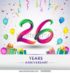 26th Anniversary Celebration Design, with gift box, balloons and confetti, Colorful Vector template elements for your, twenty six years birthday celebration party.
