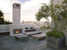 sleek outdoor fireplace