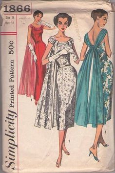 MOMSPatterns Vintage Sewing Patterns - Simplicity 1866 Vintage 50's Sewing Pattern THE MOST INCREDIBLE Rockabilly Red Carpet Boned, Panel Front Evening Gown, Cocktail Party DREAM Dress, Cascading Drape Size 14