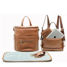 Suede-brown Diaper Backpack with Changing Pad Diaper Bag Backpack by Miss Fong Diaper Bag Organizer,Stroller Straps and Insulated Pockets