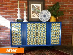 This old vintage console stereo looked like it had seen better days, but Luann saw potential in transforming it into a bold and useful furniture piece to be used in another part of the house.