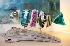 Fused glass - fish mounted on driftwood