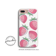 Strawberry - Embossed phone cases, iPhone 6 case, iPhone 7 case, iPhone 8 case, iPhone 7/8 plus case, iPhone X case - PETRICHOR CASES#A76 by PetrichorCases on Etsy Pink Phone Cases, Iphone Phone Cases, Iphone 7, Ring Stand, Phone Holder, 6 Case, New Product, Phone Accessories, Smartphone