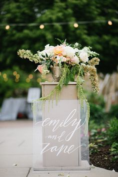 Emily + Zane wedding sign for the bride and groom | Calligraphy by Lavender and Pine | Event Styling & Florals by Rachael Ellen Events