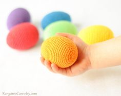 Crochet Wooden Easter Eggs - Rainbow - set of 6 - Montessori Natural Waldorf Toy