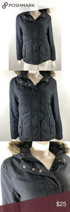 Old Navy Jacket Small Gray Faux Fur Trim Hood Coat Old Navy Womens Jacket Size Small Gray Faux Fur Trim Hood Coat Winter Zip Up. Measurements: (in inches) Underarm to underarm: 20 Length: 22 Sleeve:24 Good, gently used condition Old Navy Jackets & Coats