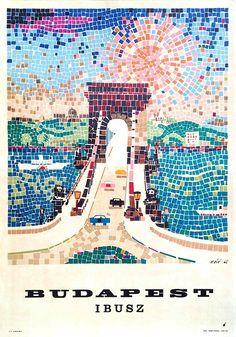Ibusz Budapest (1965) utazási plakát  Máté, András  vintage Hungarian travel poster Vintage Travel Posters, Retro Posters, Retro Ads, Postcard Art, Illustrations And Posters, Vintage Advertisements, Scrapbook, Budapest Hungary, Nostalgia