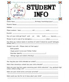 Student Information Sheet maybe for back to school night.