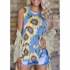 2020 new tank tops women summer fashion sunflower print o neck casual – bodyconest Sunflower Pattern, Sunflower Print, Cami Top Outfit, Pretty Shirts, Women's Summer Fashion, Latest Fashion For Women, Casual Tops, Floral Tops, T Shirts For Women