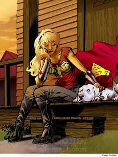 Wonder Girl and Krypto by Shawn McGuan