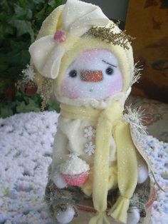 "Primitive Prim Folk Art OOAK Raggedy Bear Snowman Doll w/ Cupcake ""Buttercream"" #NaivePrimitive #LeahsWhimsicalcorner THIS DOLL IS NOW AVAILABLE ON EBAY!!THANK YOU.:0) SOLD!!"