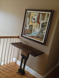 Piano hall table with reclaimed barn beam top www.facebook.com/tigerlilysfurniture