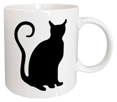 Black Cat Silhouette with Curly Tail Ceramic Mug, 11 oz, White *** Special cat product just for you. : Cat mug Black Cat Silhouette, Cat Mug, Swirls, Just For You, Image Cat, Rainbow, Mugs, Curly, Amazon