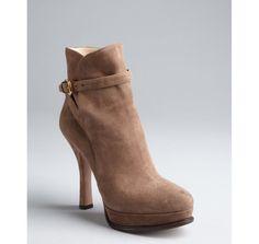 Prada mink suede buckle platform ankle boots.  OMG!!!