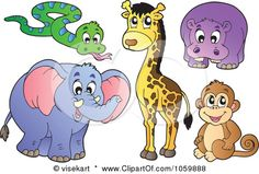 Royalty-Free Vector Clip Art Illustration of a Digital Collage Of African Animals by visekart