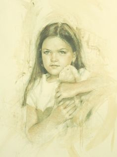 Charcoal and Conte Portrait by Liz Lindstrom. Portrait Dress by McCall Wilder Couture for Children.
