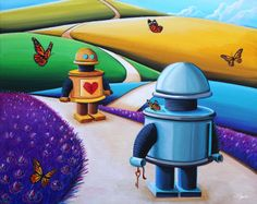 Two robots meet after a long journey.  One has a locked heart, the other holds a key.  The Key To My Heart painting is now available in print.  Art by Cindy Thornton #robotart #artforkids #robotvalentine
