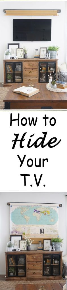 Perfecting the Homefront: Tv Solution. An easy way to hide your TV with a vintage map!