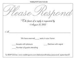 Sit down plated dinner rsvp cardsn you post some pics of yours rsvps and those who used number of seats reserved in your honor weddings invitation cardswedding invitation rsvp wordingwedding stopboris Choice Image