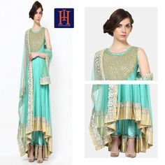 The sea green with kundan work is ideal for day events. Team it with from available on Keep Shopping, Anarkali, Events, Indian, Sea, Couture, Green, Earrings, Dresses