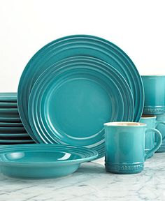 Le Creuset Dinnerware, 16 Piece Set - Casual Dinnerware - Dining & Entertaining - Macy's. Hmm if I couldn't have entire purple (cassis) set, I guess the turquoise would definitely be my 2nd choice.