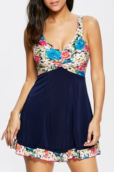 $23.20 Floral Knot Skirted One Piece Swimsuit