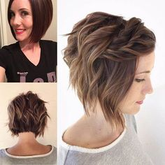 90 Mind-Blowing Short Hairstyles for Fine Hair - Wavy Bob With Twisted Bangs For Thin Hair Short Hairstyles For Women, Hairstyles Haircuts, Pretty Hairstyles, Hairstyle Ideas, Wedding Hairstyles For Short Hair, Bridesmaid Hair Short Bob, Short Hair For Women, Braided Hairstyles For Short Hair, Short Hairstyles For Thin Hair