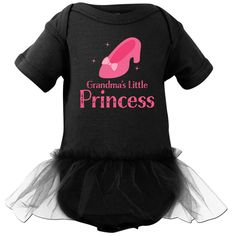 Grandma's Little Princess Infant Tutu Bodysuit Black $29.99 www.personalizedfamilytshirts.com