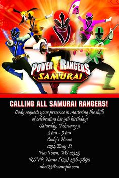Power Rangers Samurai Birthday Invitation