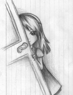Easy Pencil Drawings, Cool Easy Drawings, Sad Drawings, Dark Art Drawings, Girly Drawings, Art Drawings Sketches Simple, Cartoon Drawings, Art Du Croquis, Drawing Tutorials