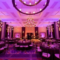 Black, white and purple Reception   Purple Reception Uplighting