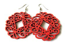 Dyed Wooden Circle Filigree Earrings — Mary Grace Jewellery