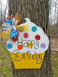 Happy Birthday Cupcake Door Hanger Happy Birthday by MoniLulis