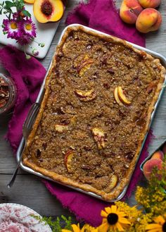 Peach Slab Pie with Cornmeal Pecan Streusel - Simple Bites Peach Slab Pie, Streusel Topping, No Cook Desserts, Fall Baking, Food Hacks, Food Tips, Pecan, A Food, Food Processor Recipes