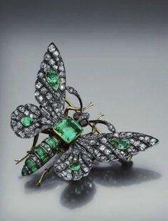350b75de67a Boucheron - An antique gold, silver, diamond and emerald butterfly brooch,  circa 1880
