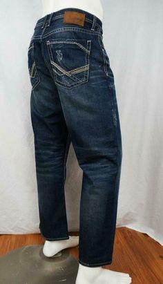 Buckle BKE Tyler ABM2388 Straight Leg Jeans Distressed Dark Wash sz 34 X 28 EUC #Buckle #ClassicStraightLeg Blue Denim, Blue Jeans, Khaki Chino Pants, Buckle Jeans, American Fighter, Comfy Pants, Distressed Jeans, Men's Clothing, Legs