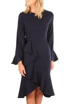 28d414b90fd Fashion Onlinechoic Navy Delicate Ruffle Accent Bell Long Sleeve Midi Dress