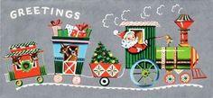 printable train clip art   Christmas Card Santa Train