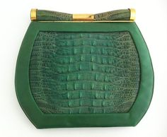 1930's Art Deco Green Purse / by Saks Fifth Avenue / Leather, brass, and lizard skin. @designerwallace