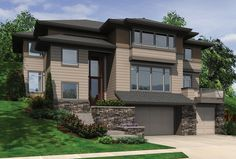 Ideal Plan for Capturing Hillside Views. Plan 2389 The Raymond is a 3415 SqFt Contemporary style home plan featuring Den, Elevator, Guest Suite, Upstairs Utility Room, and Walk-In Pantry by Alan Mascord Design Associates. View our entire house plan collection on Houseplans.co.