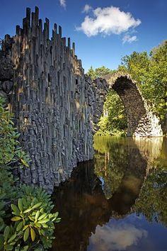 Devil's bridge and basalt.  Rakotzbrücke, Germany. Kromlau Park.  by funtor