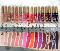 Too Faced Melted liquified Long Wear Matte Liquid Lipsticks: Miso Pretty, Child Star, Cool Girl, Sell Out, Feelin' Myself, Queen B, 1998, It's Happening, Mrs Roper, Bend & Snap!, Unicorn, On Point!, Naughty By Nature, Drop Dead Red, Who's Zoomin' Who, Evil Twin. I'm missing Lady Balls a classic red.