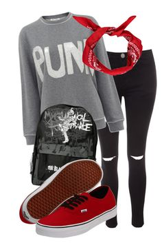 """""""Punk outfit cx"""" by angelofthefallen ❤ liked on Polyvore featuring Glamorous, Bella Freud, Hot Topic, Boohoo and Vans"""