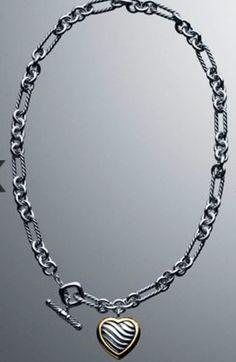 David Yurman Figaro Two Tone Heart Necklace.